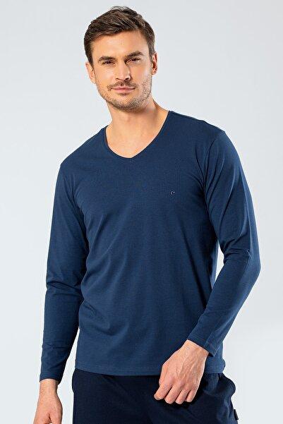 Cacharel Erkek Indigo V Yaka Uzun Kollu T-Shirt