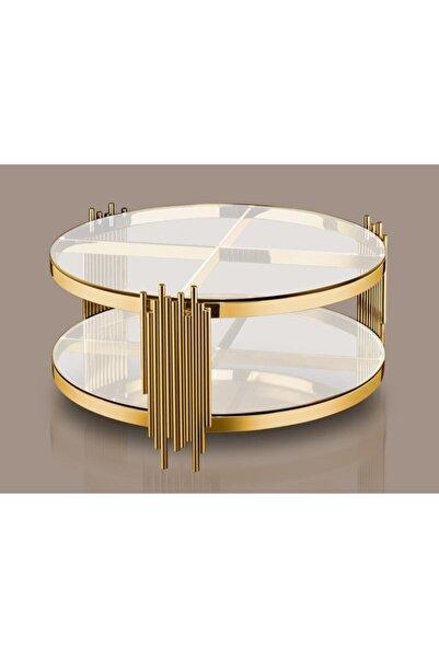LAMEDORE Altın Yuvarlak Kahve Masası 90
