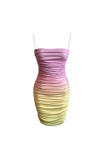 Whenever Company Kadın  Kısa Askılı Mini Drapeli Elbise