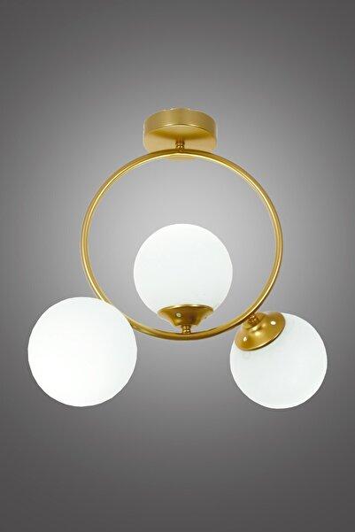 Taşcan Aydınlatma Evren 3 Lü Gold Plafonyer Avize-beyaz Camlı