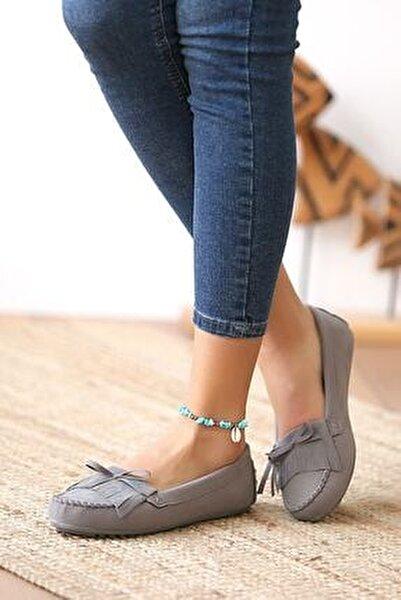 Kadın Gri Günlük Casual Sneaker Babet Ayakkabı