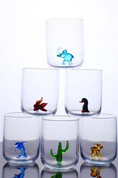 mosaicturk Hayvan Figürlü 6'lı Su Bardağı Seti
