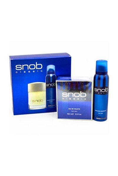 Snob Mavi Klasik Erkek Parfüm Seti 100ml Edt + 150 ml Snop Deodorant