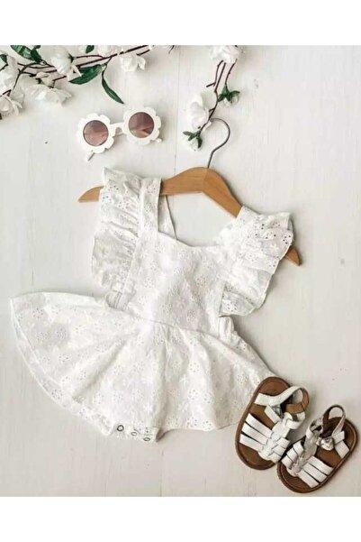 Le Mabelle Beyaz Fisto Kız Bebek Romper Takım - Valeria