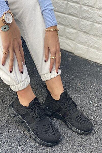 İnan Ayakkabı Kadın Siyah Triko Spor Ayakkabı