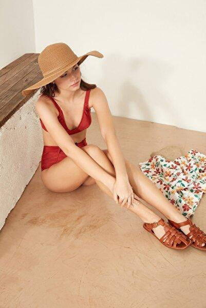 C&City Kadın Hasır Plaj Şapkası Y1730-14 Vizon
