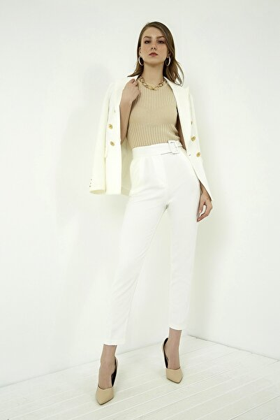 Vis a Vis Kadın Ekru Kemer Detaylı Yüksek Bel Pantolon