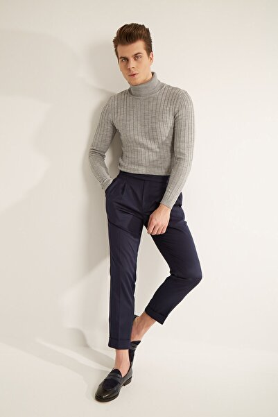 Fc Plus Erkek Lacivert Havuç Kalıp Uzun Dilli Çift Pileli Slım Fıt Pantolon
