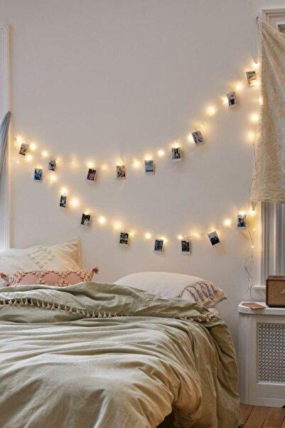 Enjoy Home 20 Adet Renkli Mini Mandal, 3 Metre Led Işık, Peri Led, Fotoğraf Askısı