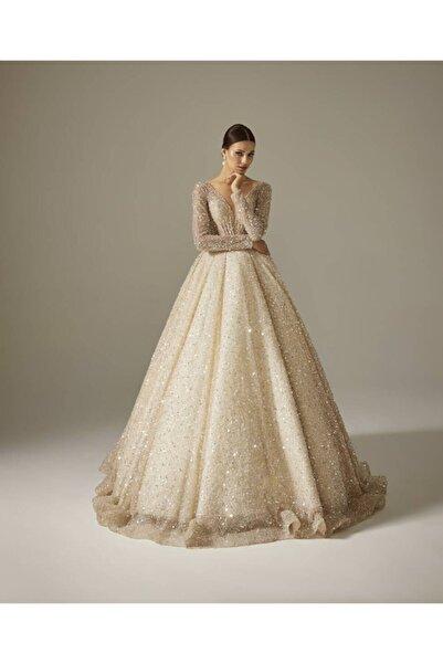 Mediha Cambaz Bridal Luxe Tene Gümüş Boncuk Kasnak Işi Prenses Gelinlik Modeli