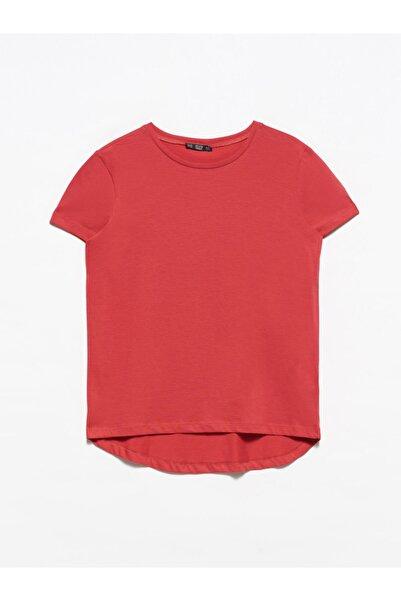 Dilvin 3471 Bisiklet Yaka Basic T-shirt-kırmızı