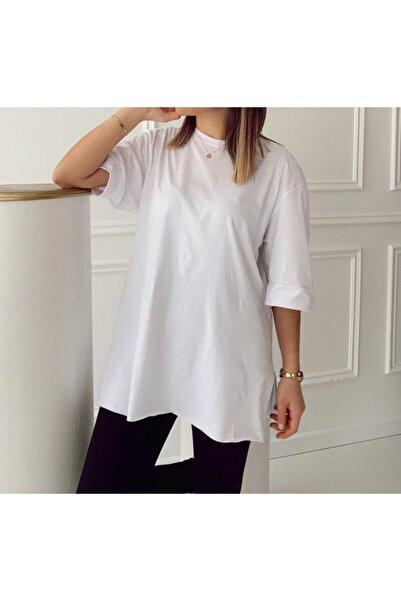 NİCE Beyaz Oversize Duble Kol Pamuklu Basic T-shirt