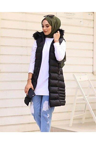 Eyyo Kadın Siyah Kapüşonlu Kürklü Dört Mevsim Giyilen Şişme Yelek