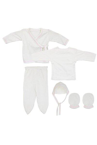 bebegen Kız Bebek Krem Pembe Biyeli 5'li Iç Zıbın Set
