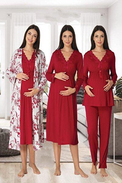Effort Pijama Kadın Vişne Uzun Kollu Pijama Takımı Gecelik Sabahlık Lohusa Hamile 4'lü Set