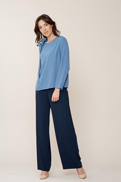 GIZIA CASUAL Kadın Uzun Kollu Mavi Bluz M18YBW09412EO