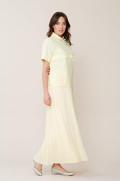 GIZIA CASUAL Kadın Broş Detaylı Sarı Bluz M18YBW0701XUZ