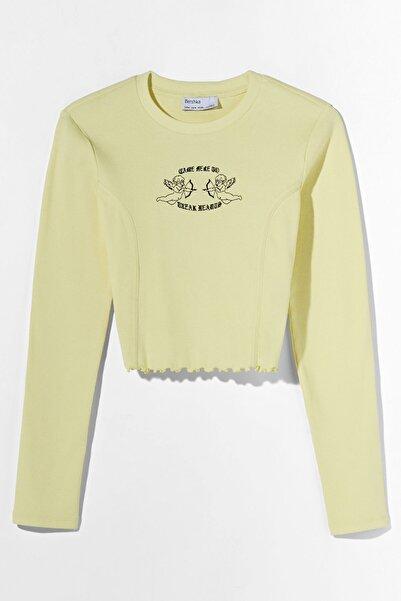 Bershka Kadın Sarı Işlemeli T-shirt