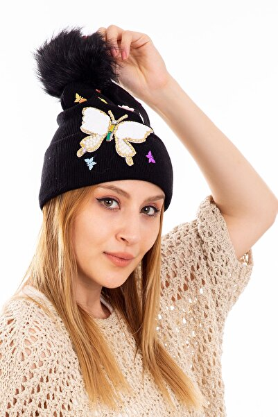 Moda Bere Kadın Bere Kelebek Taşlı Ponponlu Siyah