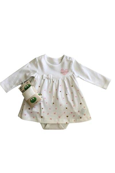 kitikate Kız Bebek Beyaz Oranik Elbise Ve Çorap Takım