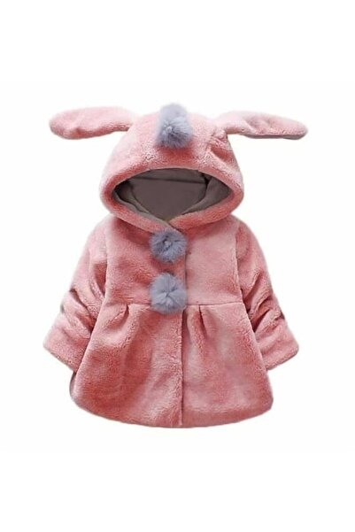 La Boutique BB Kız Çocuk Peluş Pembe Tavşan Mont