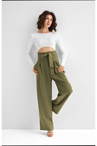 MURUNO Kadın Yeşil Bol Paça Pantolon
