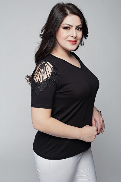 Ebsumu Kadın Büyük Beden V Yaka Omuzu Güpürlü Siyah Bluz
