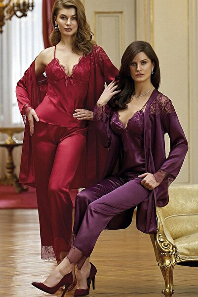 Nurteks Boru Paça Ip Askılı Çeyizlik Kadın 3lü Pijama Seti 5919