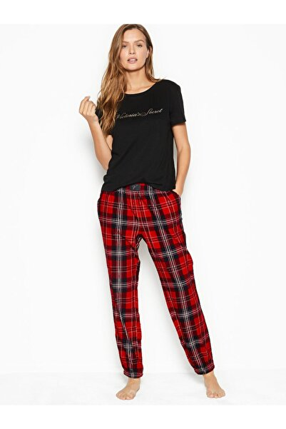 Victoria's Secret Pamuklu Flanel Pijama Takımı