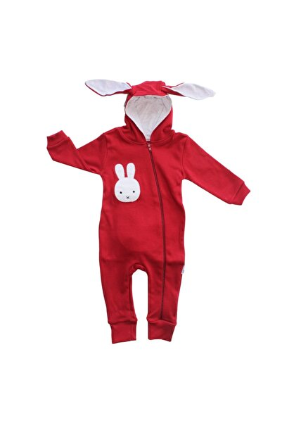 bebegen Unisex Bebek Bordo Yeni Model Tavşan Kulaklı Ponponlu Tulum