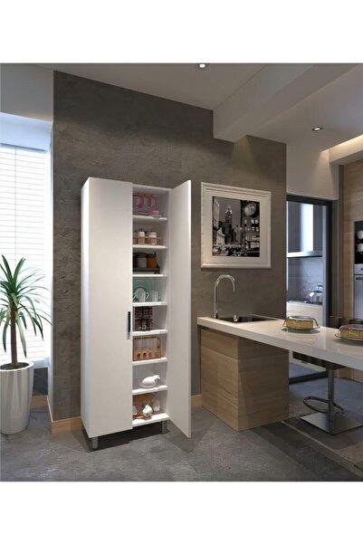 Yeni Vitrin %100 Mdf Beyaz 8 Raflı 2 Kapaklı Çok Amaçlı Mutfak/banyo Dolabı 70x172x32
