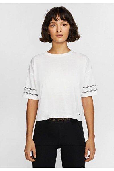 Nike Kadın Beyaz Pro Graphic Short-sleeve Top Tişört