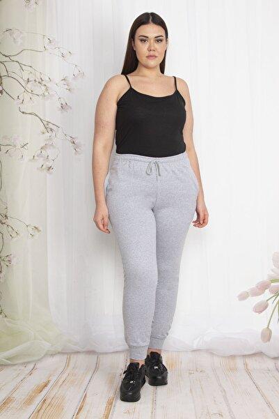 Şans Kadın Gri İçi Şardonlu Kumaş Cepli Bel Kısmı Lastikli Spor Pantolon 65N22208