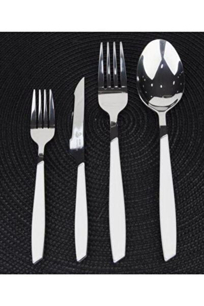 ACAR Nadia Beyaz Paslanmaz Çelik 24 Parça Çatal Kaşık Bıçak Takımı