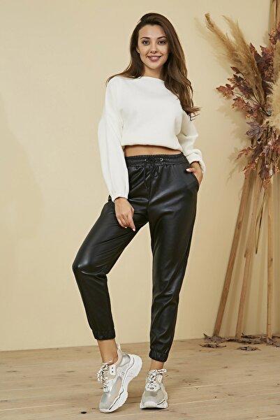 Beyaz Giyim Moda Kadın Yüksek Bel Jogger Deri Pantolon