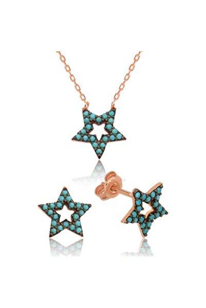 Gumush Kadın Gümüş Mavi Yıldız Set