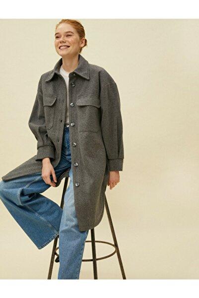 Koton Kadın Gömlek Ceket Uzun Kase