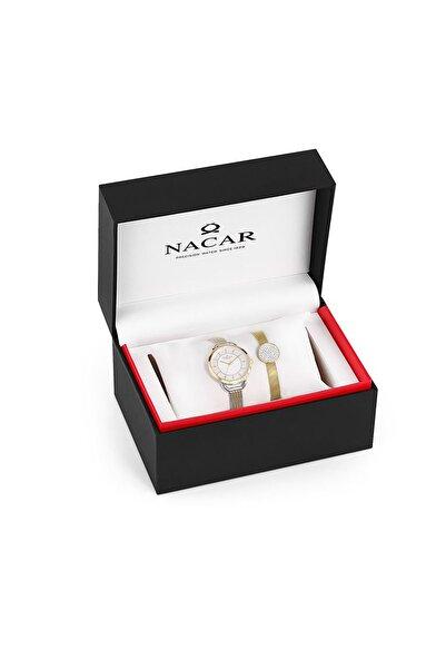 Nacar Kadın Altın Çelik Hasır Kol Saati Nc34-39b437-csm-set