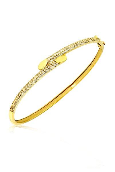 Siena Kadın Sarı Taşlı Altın Kelepçe Bilezik 14 Ayar 7,65 gr