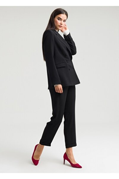 Armağan Kadın Siyah Kruvaze Kapama Klasik Pantolonlu Takım
