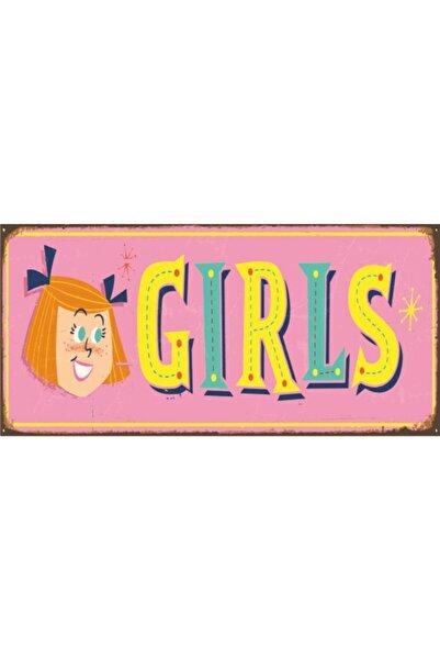 Hayat Poster Kız Çocuk Odası Kapı Tabelası (10 Cm X 20 Cm) Mini Retro Ahşap Poster