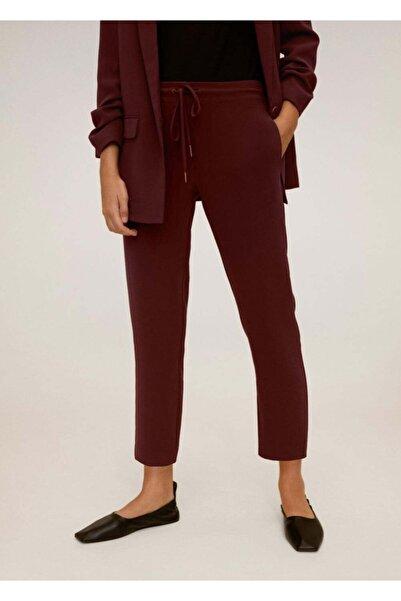 MANGO Woman Kadın Bordo Düz Kesim Kumaş Pantolon 77042520