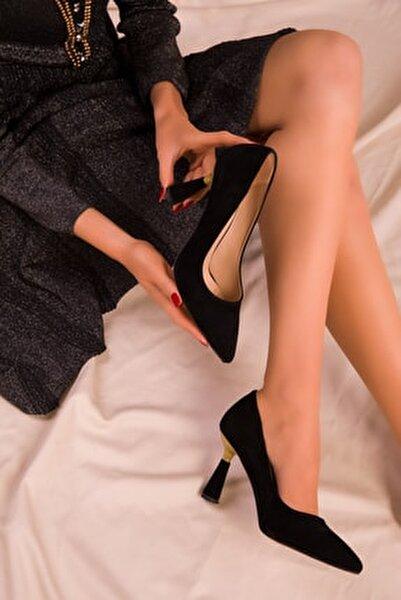 Siyah Süet Kadın Klasik Topuklu Ayakkabı 15783