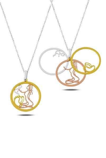 Rams Gümüş Kadın Anne Bebek Ve Ayak İzi Üçlü Kolye