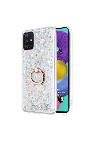Microsonic Samsung Galaxy A51 Kılıf Glitter Liquid Holder Gümüş