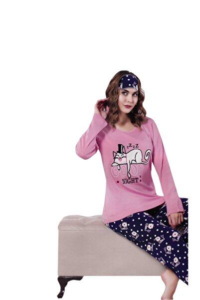 Çekmece Kadın Pembe Desenli Uzun Kol Pamuklu Pijama Takım 2809