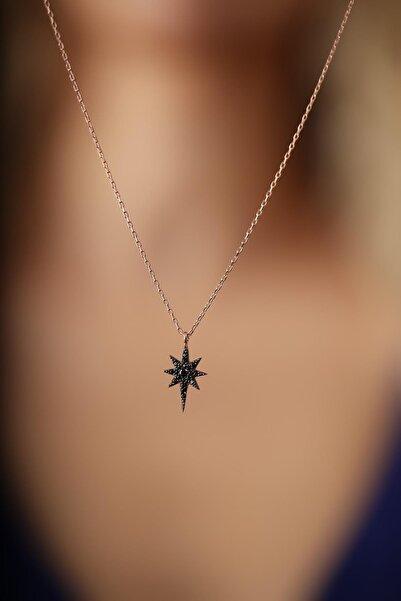 İzla Design Kadın Kutup Yıldızı Model Siyah Zirkon Taşlı Gümüş İtalyan Kolye