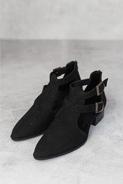 Meya Ayakkabı & Çanta Siyah Süet Topuklu Buti