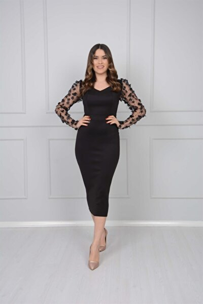 giyimmasalı Scuba Kumaş Kolları 3 Boyutlu Çiçekli Kalem Elbise - Siyah