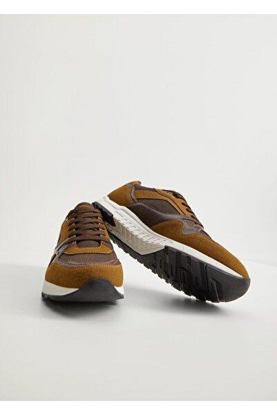 MANGO Man Erkek Kahverengi Karma Deri Spor Ayakkabı